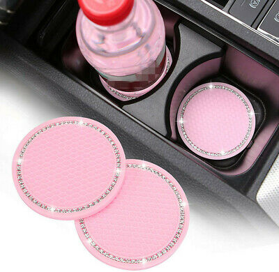 £4.98 • Buy 2PCS Car Accessories For Women Pink Cup Holder Insert Coaster Bling Rhinestone