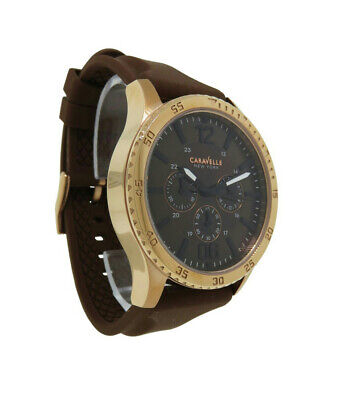 $22.50 • Buy Caravelle New York 44A102 Men's Copper Tone Multi-Dial Black Analog Watch