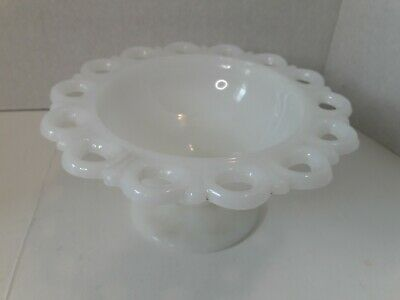 $9.95 • Buy Vintage MCM White Milk Glass Lace Edge Footed Compote Candy Dish ~ 7  W 3.5  H