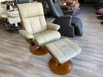 $999 • Buy Mac Motion Norway Recliner Chair And Ottoman Khaki Top Grain Leather 39-103