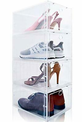 $69.21 • Buy Drop Front Shoe Box Set Of 4 Stackable For Men And Women - Clear Plastic Shoe...