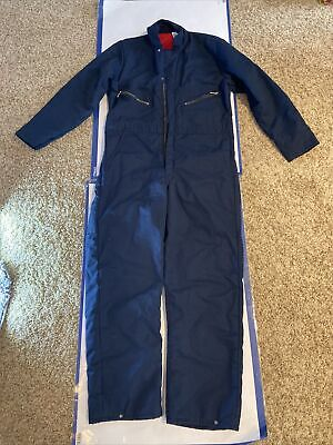 $49.99 • Buy Vintage Insulated Quilted Navy Blue Zip Work Mechanic Coveralls Men's Medium USA