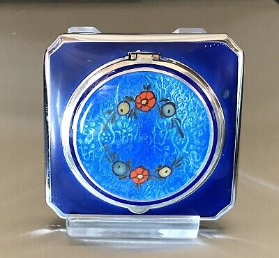 £61.81 • Buy EAM Sterling Silver Enamel Guilloche Compact Great Condition 68g
