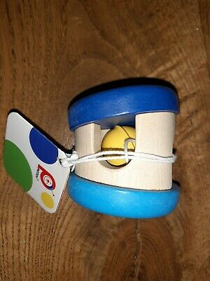 £3 • Buy Pintoy Wood Painted Rolling Bell Rattle Blue Party Bag Stocking Filler Cat Toy
