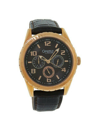 $19.99 • Buy Caravelle By Bulova 44C100 Men's Rose Gold Tone Day & Date Brown Leather Watch