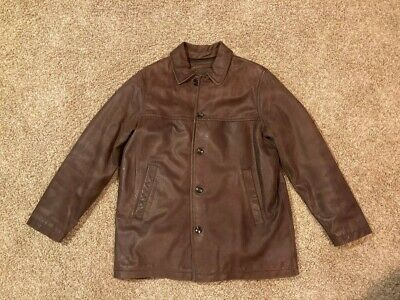$39 • Buy Eddie Bauer Heavy Brown Cow Leather Button Front Insulated Jacket Coat Mens XL