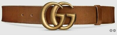 AU207.50 • Buy Genuine Gucci Leather Belt With Double G Buckle,Brown/Tan Faded Leather, AS NEW