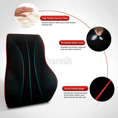 AU22.09 • Buy Memory Foam Lumbar Back Pillow Cushion Chair Support Home Car Office Relax Seat