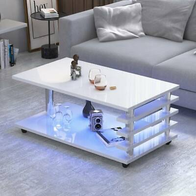 £140.73 • Buy LED Coffee Table Wooden White Storage High Gloss Modern Living Room Furniture UK