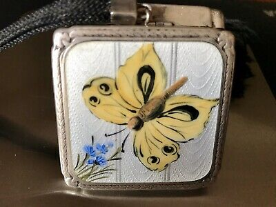 £61.81 • Buy Sterling Silver Guilloche Enamel Compact Box Butterfly Painting