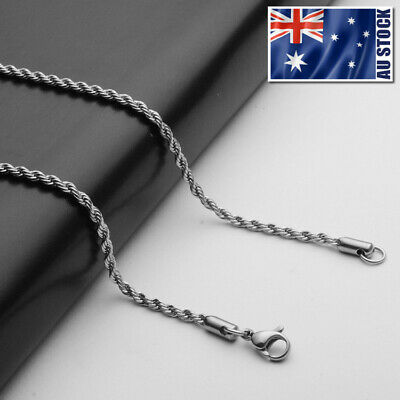 AU5.49 • Buy Wholesale Stainless Steel Twist Rope Chain Necklace For Pendants Mens & Womens