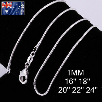 AU2.95 • Buy Wholesale 925 Silver Filled 1MM Classic Snake Necklace Chain Bulk Price 16 - 24
