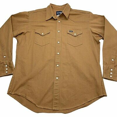 $25 • Buy Vintage 90s Wrangler Pearl Snap Western Shirt Heavy Duck Canvas Brown Size XL