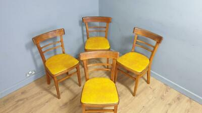 £100 • Buy Mid Century Set Of Four Kitchen Bistro Bentwood Dining Chairs Mustard Seats