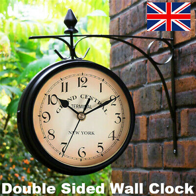£14.67 • Buy Outdoor Garden Gentral Station Wall Clock Rotate Double Sided Outside Bracket