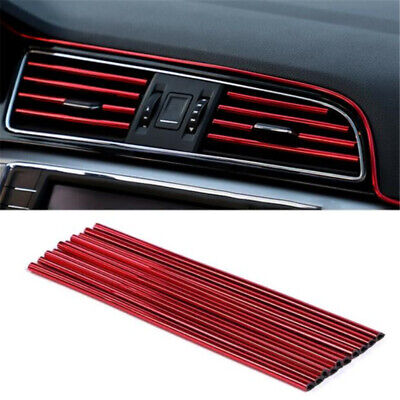 £4.50 • Buy 10x Car Accessories Red Air Conditioner Air Outlet Decoration Strip Cover