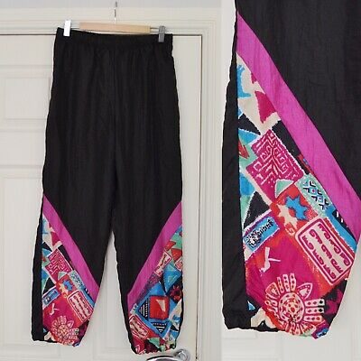 £17.99 • Buy Vintage 80's 90's Shell Suit Trousers, Black Pink Tracksuit Bottoms, Size 10