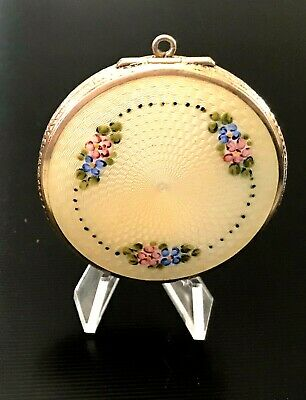 £69.08 • Buy Sterling Silver Guilloche Enamel Compact Box Pendant Case Exc Cond  45g