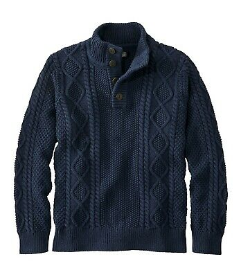 $79 • Buy LL Bean Signature Cotton Fisherman Sweater, Henley-Mens Size Small-Navy