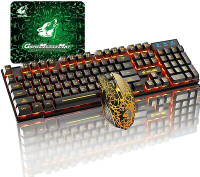 AU51.99 • Buy Wireless Gaming Keyboard  LED Rainbow Backlit And Mouse Sets For PC PS4 Xbox One