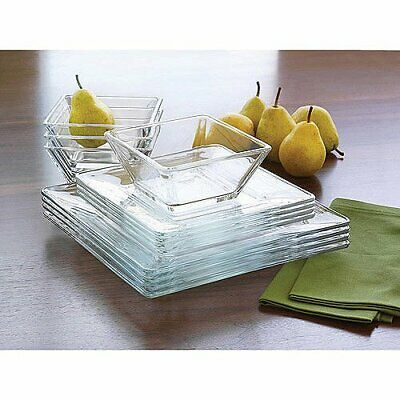 $29.99 • Buy Mainstays 12-Piece Square Clear Glass Dinnerware Set
