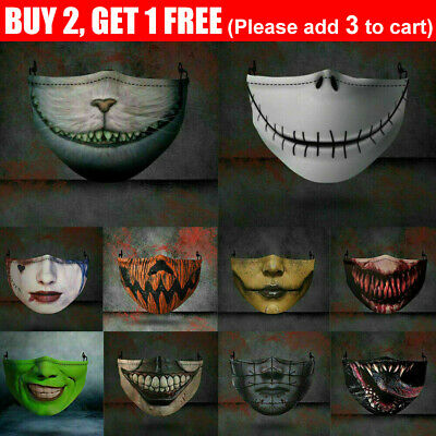 AU7.99 • Buy Motorcycle Face Mask Funny Scary Fashion Washable Reusable Face Cover Horror