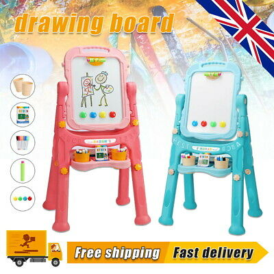 £20.99 • Buy Kids Folding Double Sided Magnetic Drawing Board Easel With Colour Chalk Eraser