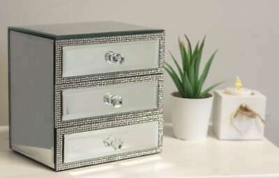 £4.99 • Buy 3 Drawer Mirrored Diamante Jewellery Box Silver Sparkle Chest Christmas Gift