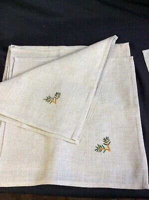 """£18.17 • Buy 12 Thick Tan Linen Dinner Napkins 17""""Sq Embroidery  Arts And Crafts Mission"""