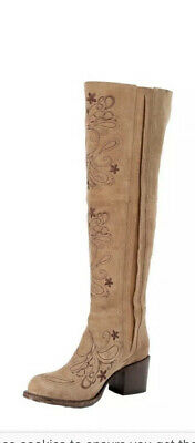 $199 • Buy Miss Macie Boots Knee High Suede Shaft Boots Taupe/ Tan - Preowned
