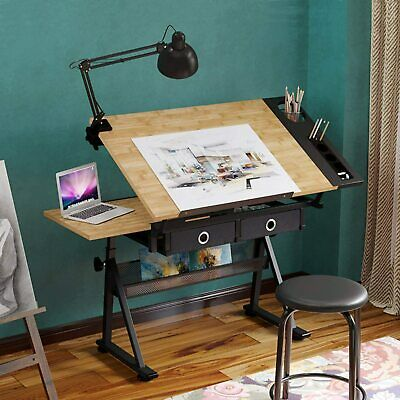 £71.99 • Buy Adjustable Drafting Table Art Craft Drawing Desk W/Stool Architect Desk Stand