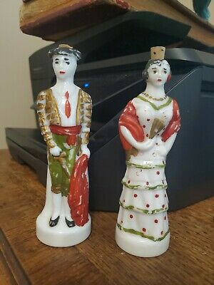 $3.75 • Buy Antique Decanters - 6  Hand Painted Milk Glass Man & Woman -