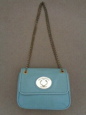 £70 • Buy Lulu Guinness Aqua Annabelle Leather Shoulder Bag With Gold Chain Detail