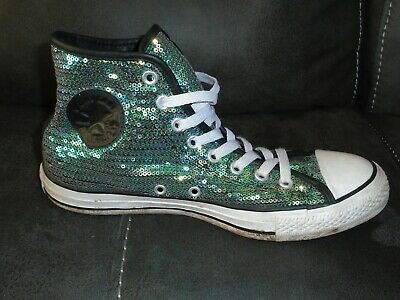 £10.49 • Buy Converse All Star Boots Trainers - Green Sequins - Size 8 Uk / 41.5 Eu  - J92