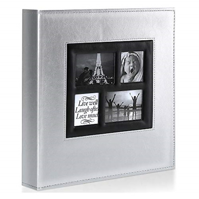 £22.98 • Buy Benjia Photo Album   600 Pockets 6x4 Photos   Extra Large   Silver Leather Cover