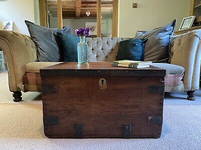 £34 • Buy Old CHEST, ANTIQUE Wooden Blanket TRUNK, Coffee TABLE, Vintage, Storage Toy BOX