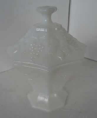 $8 • Buy White Milk Glass Opaque Grape Pattern Covered Pedestal Compote 8  Vintage