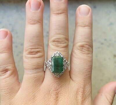 AU1799 • Buy Womens Natural 6ct Emerald & Diamond Ring White Gold 9k Valuation $6375