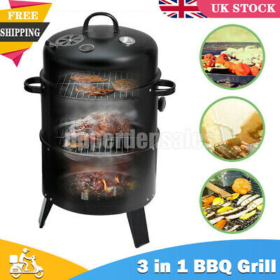 £38.99 • Buy 3 In 1 Charcoal Barbecue Smoker BBQ Grill Camping Cooking Outdoor Garden Party