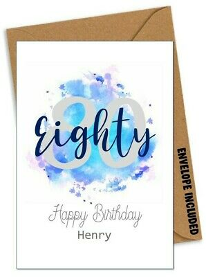 £2.94 • Buy Personalised 80th BIRTHDAY CARD For Him Son Brother Grandad Dad Uncle P23