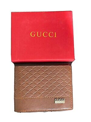 AU54.77 • Buy Gucci Mens Brown Tan Leather Wallet With Box New