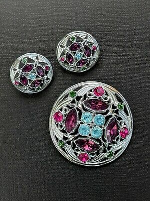 $14.90 • Buy Vintage Sarah Coventry Silver Tone & Faux Gemstone Brooch Pin & Clip Earrings