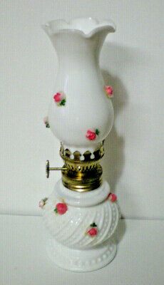$12.50 • Buy Vintage Miniature Oil Lamp Milk Glass With Rose, Hobnail Swirl 8  Tall