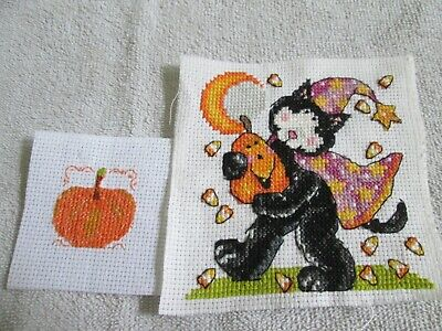 £1.49 • Buy Finished Cross Stitch Pieces - Cat And Pumpkin