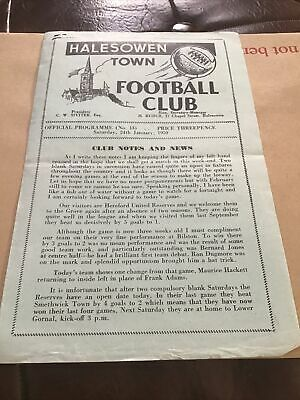 £4.99 • Buy Halesowen Town V Hereford United Reserves Football Programme From 24/1/1959