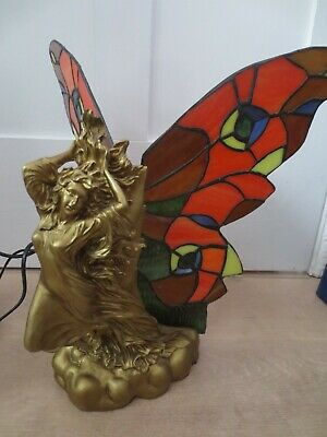 £19.99 • Buy Lady Butterfly Table Lamp Stained Glass Art Deco Or Art Nouveau Style