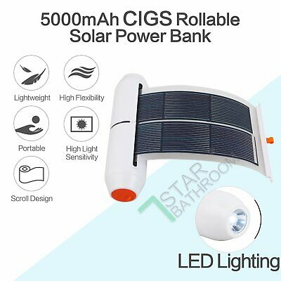 AU61.50 • Buy Rollable Solar Charger 5V 6W 5000mAh CIGS Portable Power Bank LED Light Camping