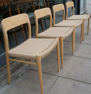 £1795 • Buy  Four Vintage 1970s Danish Oak Moller 75 Dining Chairs With Paper Cord Seats
