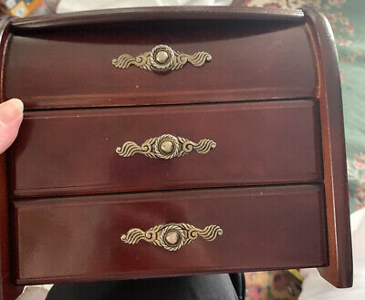 £10 • Buy Wooden Musical Jewellery Box Chest With Two Drawers And Lid Storage. Lovely