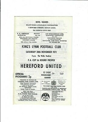 £10.50 • Buy Kings Lynn V Hereford United (FA Cup, 1st Round) - 20/11/1971